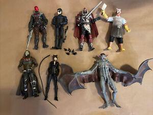 DC Batman Arkham Knight Figure Lot Of 7 Redhood/Professor Pyg/Cat Women/Man-Bat