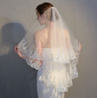 Fingertip Length 2 Tiers White Ivory Wedding Bridal Veils With Comb Shiny Sequin