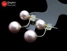Purple 8-10mm Sea Shell Pearl Double Front Back Women Earrings 14K Gold Ear Stud
