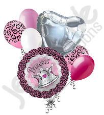 7 pc Princess Cheetah Safari Happy Birthday Balloon Bouquet Jungle Leopard Pink