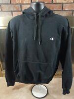 Champion Logo Gym Workout Training Hoodie Hooded Sweatshirt Mens Large Black