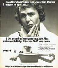 Publicité Advertising 108  1974   rasoir éléctrique Philips 3 tetes 3
