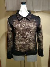 NWOT Cactus sz M Brown 'Chocolat' Embellished Graffix Stretch Jacket Blazer
