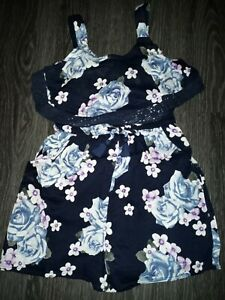 Girls justice crotchet romper size 16 new navy floral
