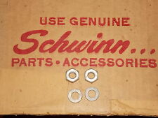 "Original NOS Schwinn script front axle nuts balloon tire bicycle bike 5/16""x26T"