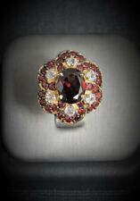 Garnet and White Sapphires Yellow Gold Ring