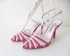 POLLINI  rrp $654.00 Leather High Heel Sandals Shoes Made In Italy Size 38.5
