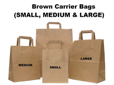 More details for brown takeaway kraft paper sos food carrier bags with handles wholesale