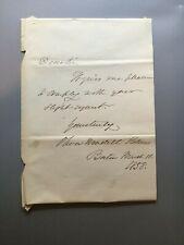 New ListingOliver Wendell Holmes, Sr. Handwritten signed letter dated 3/11/1858 autograph