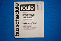 San Diego Transit Bus Schedule - Route 1 - 9/11/77