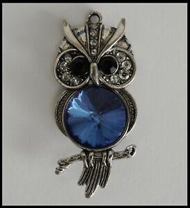 METAL CHARM #723 OWL Blue Rhinestone (63mm x 28mm) silver tone 1 bail