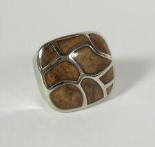 Size 6.5 Stainless Steel Ring Honeycomb Brown Enamel Statement Jewelry
