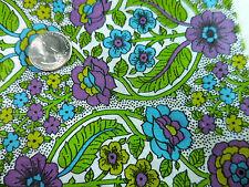 36W Vintage Cotton Quilt Fabric Chartreuse Purple Blue Lime Floral Bright BTHY