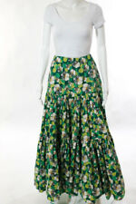 La Double J Green Cotton Floral Polka Dot The Big Skirt Size Medium New $530