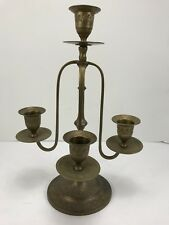 Vintage Brass 3 Arm 4 Candle Candleabra Engraved Flowers Leaves