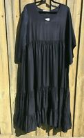 Cotton Village Tiered Summer Maxi Dress Navy Blue sizes S/M 10-16 M/L 16-20 NWT