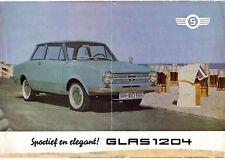 Glas 1204 & 1004 1963-65 Dutch Market Foldout Sales Brochure Saloon Coupe Cabrio