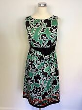 MONSOON BLACK,RED,WHITE & GREEN FLORAL PRINT TIE BELT DRESS SIZE 12