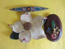 3 x FLOWER BROOCHES 1950's or earlier  LEATHER  WOOD METAL