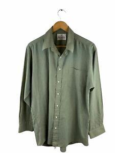 Van Heusen Button Up Shirt Mens Size 42 Green Check Long Sleeve Collared Pocket