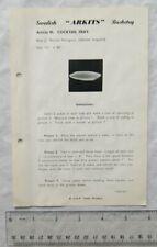 Vintage leaflet: Swedish Arkits Basketry - cocktail tray, 45
