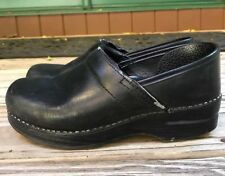 38 Dansko Black Leather Clogs Professional 7.5 8