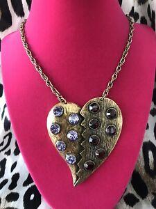 Betsey Johnson Vintage Burgundy Amethyst Purple Runway Broken Heart Necklace
