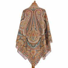 1566-16 AUTHENTIC PAVLOVO POSAD SHAWL RUSSIAN SCARF 100%COTTON DRESS WRAP 146cm
