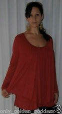 red top blouse layered asym jersey studs -L XL 1X 2X one size zp759