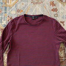 Hugo Boss Black Label Red Navy Blue Striped Crewneck L/S Shirt Men's L Large