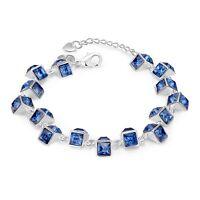 Damenarmband  Anhänger Dreiecke Zirkonia blau 20cm pl. mit Sterlingsilber