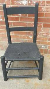 Vintage Wood Wicker Seat Chair Painted Black Yellow Red Floral Cushion