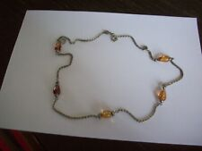 Necklace chain with 5 glass beads vintage length 28""