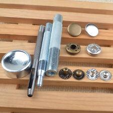 30 Set 15mm Brass Silver Metal Snap Fasteners Tool Press Studs Kit Jacket Button