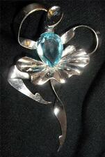 1940's Boucher Made in Mexico Sterling Silver Ballerina Aqua Glass Pin Brooch