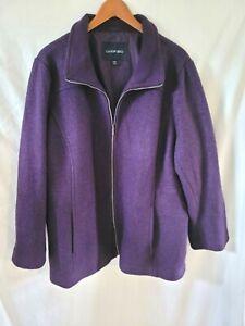 Womens Plus Size Lands End Purple Wool Jacket 24W 3X