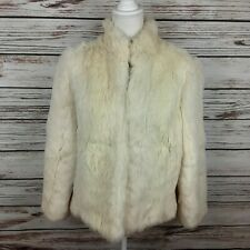 Chicago Chic Women's Vintage Cream 100% Rabbit Fur Coat Jacket Med/Lg