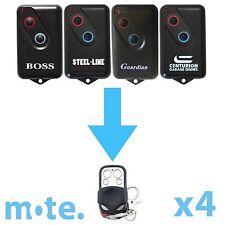 4 x Boss/Guardian/Steel-Line 2211L Compatible Garage Door Remote BHT4/BOL4/BRD1