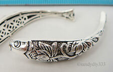 1x STERLING SILVER FLOWER FISH CURVE BRACELET TUBE SPACER BEAD 41mm #2153
