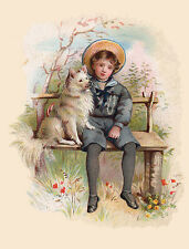 POMERANIAN SPITZ LOVELY DOG GREETINGS NOTE CARD LITTLE BOY AND DOG SIT ON BENCH