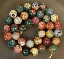 10MM PICASSO JASPER STONE ROUND BALL LOOSE BEADS 15""