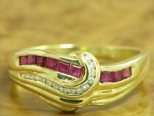 14kt 585 GOLD RING MIT BRILLANT & 0,27ct RUBIN BESATZ BRILLANTRING RUBINRING