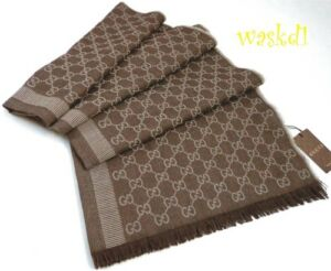 "GUCCI wool/silk 28x77"" Beige & Brown Original GG Shawl Pashmina scarf NWT Auth"