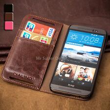 HTC One M9 M9s Echtleder Etui Tasche Case Cover Zubehör Hülle Leder Braun Neu