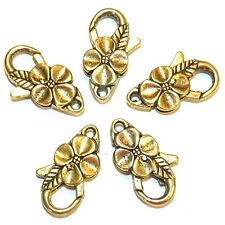 MXL5142L Antiqued Gold Large 25mm Flower Design Lobster Claw Focal Clasp 25pc