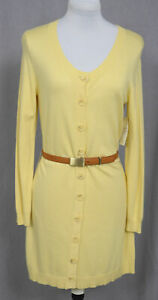 NWT $175 ETCETERA YELLOW BELTED TUNIC LENGTH CARDIGAN SWEATER size S