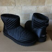 UGG Classic Mini Quilted Satin Sheepskin Black Boots Booties Size US 7 Womens
