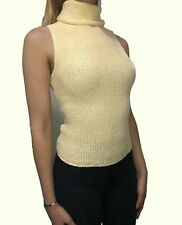 Yellow Woman's Turtleneck Top Sleeveless Size Large 100% Cotton