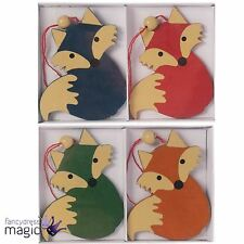 Set Of 4 Wooden Wood Hanging Fox Nordic Christmas Tree Xmas Decorations Box 6cm
