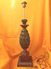 VINTAGE ANNEES 70 PIED DE LAMPE ANANAS EN BOIS SCULPTE PEINT DESIGN 70 HAUTEUR 7